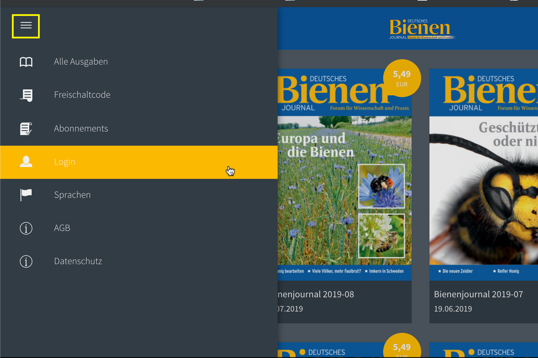 e-paper bienen journal login