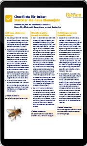 Tablet mit Checkliste für Imker zum Start ins Bienenjahr
