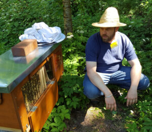 Bienen füttern mit Honig Jonas Geßner, Foto: Margarete Kruempel